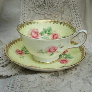 Antique Teacup Saucer Fine China Floral
